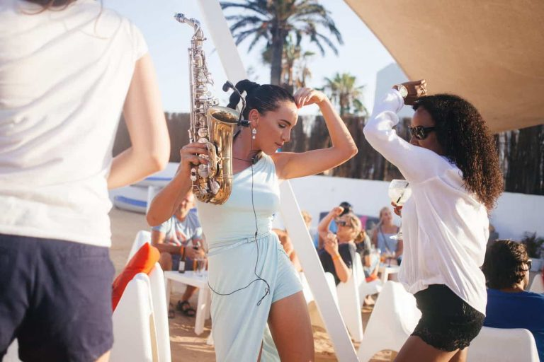 Girl on Sax | Female Saxophone Players for Hire | Elastic Lounge