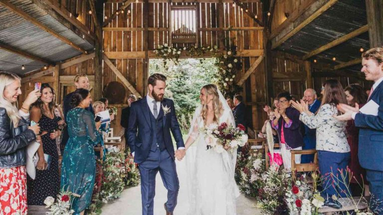 The image is of a bride and groom at the amazing Cornwall wedding venue Nancarrow Farm. Elastic Lounge will be providing the best local jazz quartet in Cornwall for a wedding at Nancarrow Farm on 20th June 2020.